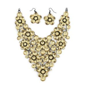 Yellow crystal flower necklace set